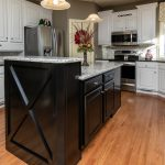 black island white kitchen repainted