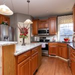 traditional wood cabinets and island
